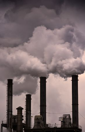 deleterious: Fumes coming out of factory chimneys