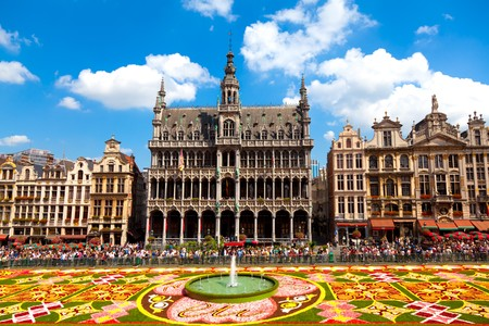 BRUSSELS - AUGUST 14TH, 2010. Every two years thousands of visitors come to see the floral carpet on the famous Grand Place square. The floral composition takes over 2,000 square meters and almost 800,000 begonias have been used.