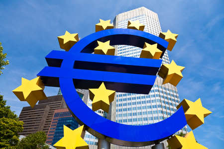 europeans: Euro symbol in front of European Central Bank, Frankfurt, Germany. Stock Photo
