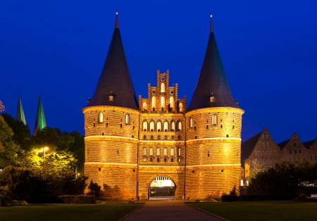 architectural tradition: The Holsten Gate in Lübeck, Germany. Stock Photo
