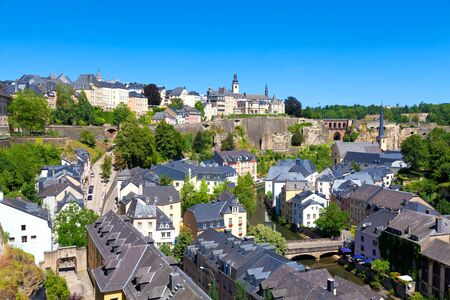benelux: Luxembourg City Panorama on a sunny summer day Stock Photo