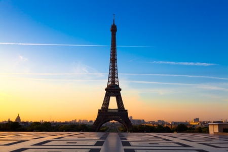 eiffel: The Eiffel Tower in Paris, seen from the Trocadero Stock Photo