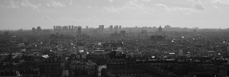 sacre: Black and white panoramic view of the Paris skyline from the stairs of the Sacre Couer on Montmartre.