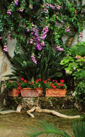 Garden detali from Hameau de la Reine (The Queens Hamlet) in the village of Versailles.