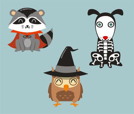 vestidos de epoca: Víspera de Todos los animales mapache, búho y perro en disfraces de dibujos animados Vectores