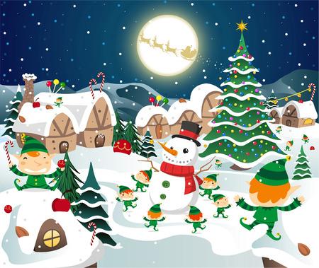 Christmas night celebration on the north pole