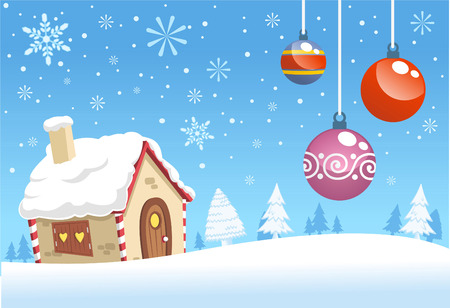 Christmas house decoration background design Vector