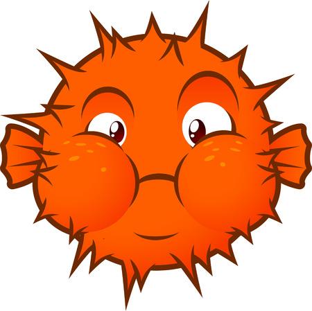 poisonous organism: Orange Balloon fish decoration vector illustration.