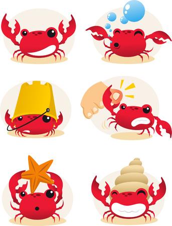 cangrejo caricatura: Conjunto de acciones de cangrejo de la historieta Rojo, con seis cangrejos diferentes en diferentes situaciones de la ilustración vectorial.