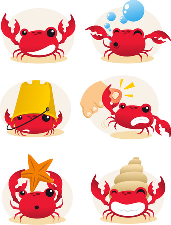 Red cartoon crab action set, with six different crabs in different situations vector illustration. Vector