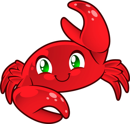 Cute Crab. Cancer sign. Red crab smiling lifting hand vector illustration.