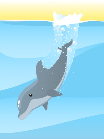sea life centre: Dolphin jumping into the deep sea water vector illustration. Illustration