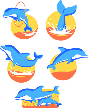 sea life centre: Five Dolphin icons set, with five different dolphins in five different situations vector illustration. Illustration