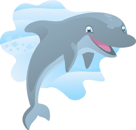sea life centre: Smiling Dolphin happily jumping out of the water vector illustration.