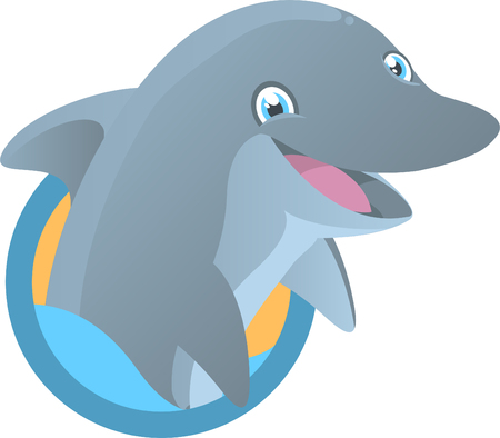 sea life centre: Dolphin Smiling with half body out of the water vector illustration.