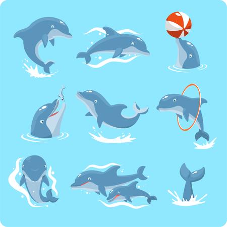 Nueve Dolphin establece colección, con delfines jugando con la pelota, con anillo rojo, salto, dos delfines y nadar ilustración vectorial. Ilustración de vector
