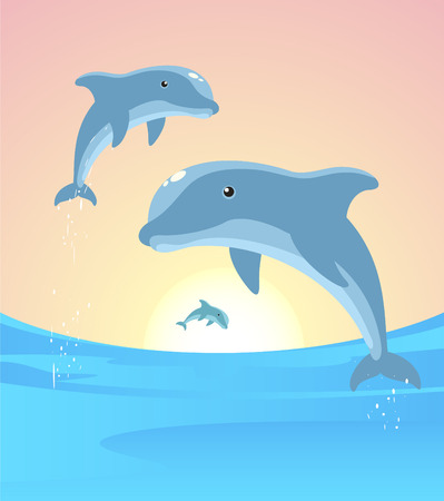 sea life centre: Three Dolphins jumping out of the water in the horizon vector illustration. Illustration