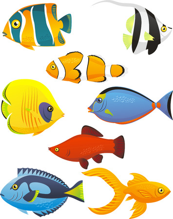 Fish Tropical Fishes Shoal, with eight 8 different fish in different colors and sizes. Fish vector illustration cartoon. Vettoriali