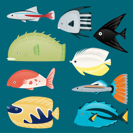 Deep water sea tropical aquatic marine fish set, Fantail Guppy, The Molly, Neon Tetras, Danios, Barbs, Bettas, Gouramis, Plecostomus, Oscars, Angelfish, vector illustration.