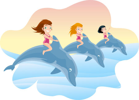 sea life centre: Three Little Girls Riding on the Jumping Dolphin Illustration