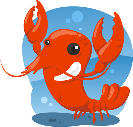 Lobster crustacean sea food shellfish shrimp, vector illustration cartoon.