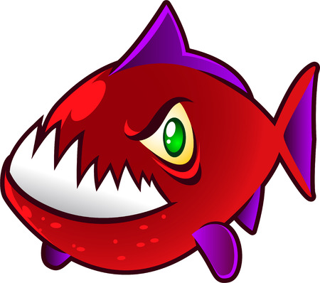 sea life centre: Angry red and violet Piranha Fish showing Big Teeth, vector illustration.