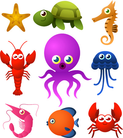art: Nine Sea Life animal species icons, like starfish, tortoise, sea horse, scrub, octopus vector illustration. Illustration