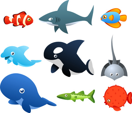 Second set of Sea Life icons, with nine different sea animals like, fish, shark, dolphin, whale vector illustration. Vector