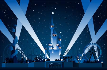 amusement park ride: Amusement Park Lights Display at Night