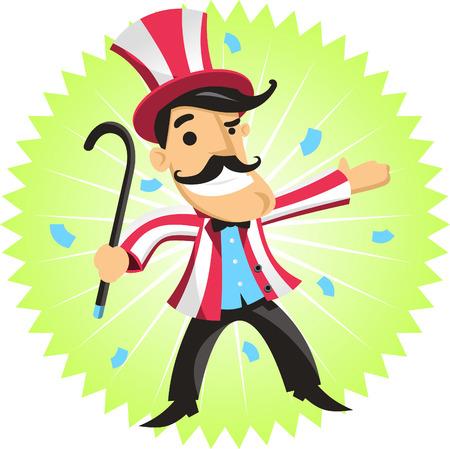 circus ringmaster amusement park cartoon Vector