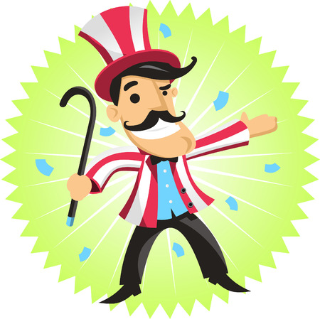 animator: circus ringmaster amusement park cartoon Illustration