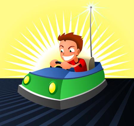 バンパー車ダッジム車アミューズメント パーク  イラスト・ベクター素材