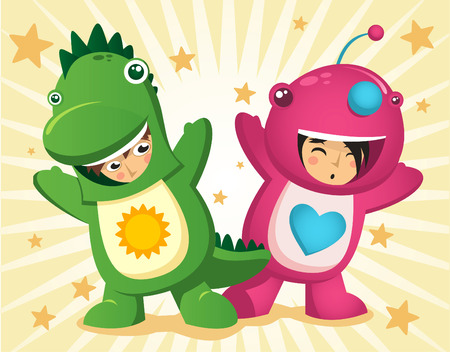 animated alien: Children dressed up with dinosaur garment mascot