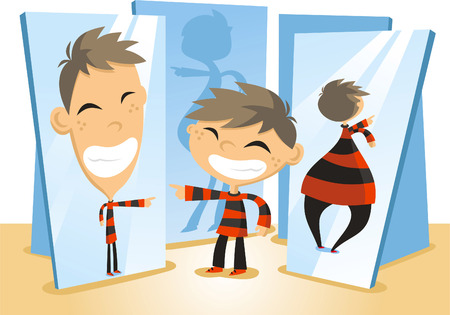 Fun Mirror House cartoon illustration