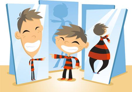 Fun Mirror House cartoon illustration