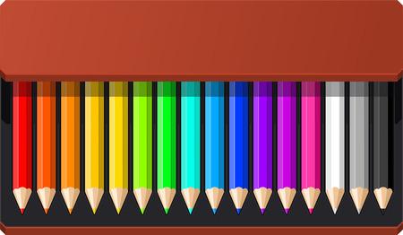 pencil case: Pencil Box sixteen pencils vector illustration.