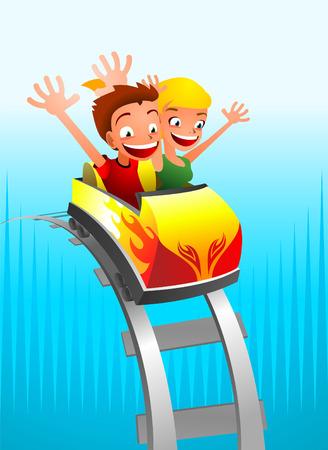 Achtbaan spel voor kinderen Stock Illustratie