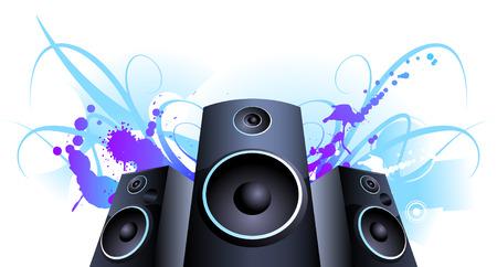 vanishing point: Speaker Violet stain color splash vector background