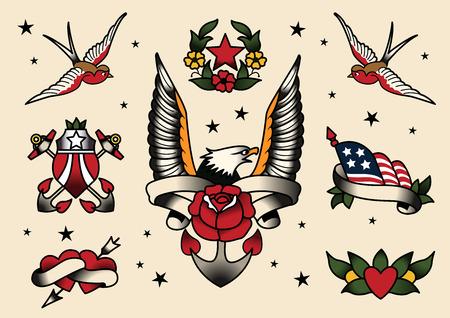 Tattoo Flash Flash vector illustration. Çizim