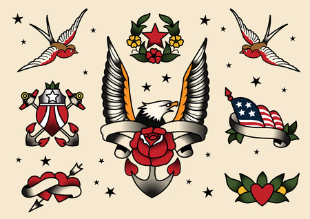 butterfly knife: Tattoo Flash Flash vector illustration. Illustration