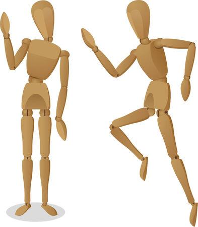 wooden mannequin: Wooden Artist Manikin Mannequin Drawing Model Articulated Joints Vector Illustration Cartoon. Illustration