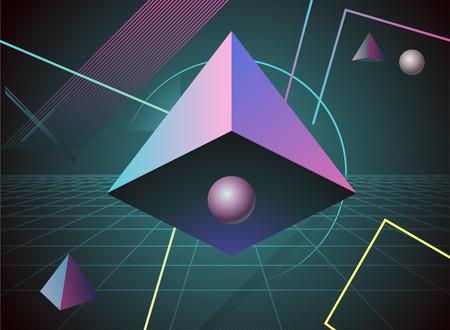 80 plus years: 80s pyramid retro background