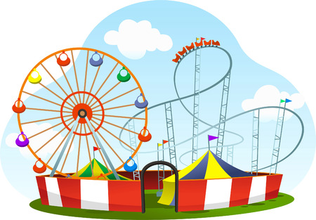 cartoon amusement park roller coaster world wheel