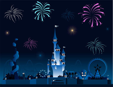 Amusement park fireworks display pyrotechnia cartoon Vettoriali