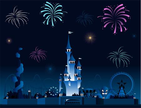 Amusement park fireworks display pyrotechnia cartoon Vectores