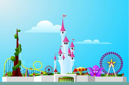 rollercoaster: amusement park cartoon illustration