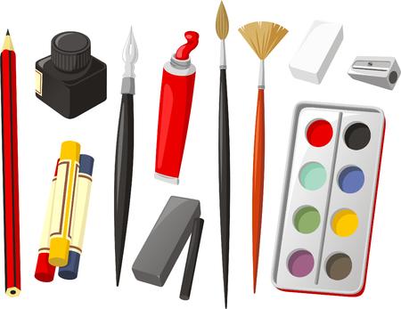 アート アイコンを設定、鉛筆、クレヨン、ワックス クレヨン、インク、盲導犬クイールの一生、油絵の具、ブラシ、ゴム、鉛筆削り、水彩、水彩塗料、炭で。ベクトル イラスト漫画。 写真素材 - 33680311