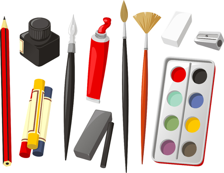 sacapuntas: Arte Icon Set, con lápiz, crayón, lápiz de cera, tinta, pluma, pintura al óleo, pincel, goma, sacapuntas, acuarela, pintura de acuarela, carboncillo. Ilustración vectorial de dibujos animados.