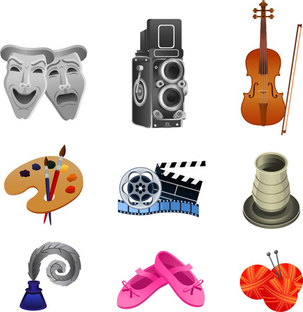 writer: Arts icon collection, with theater masks, theater, concert, violin, paintbrush, palette, movie icon, pottery, writer, dancing shoes, knitting wool and needles. Vector illustration cartoon. Illustration