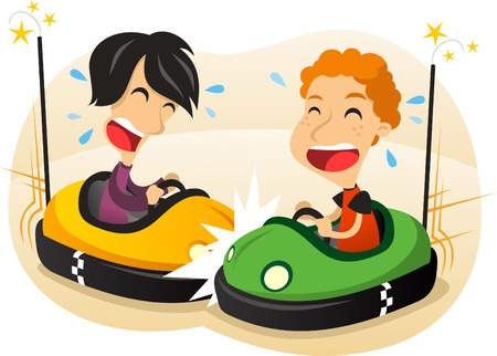 electric car: Bumper car fun cartoon illustration